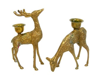 Brass Deer Candleholders, Pair, Vintage 1970s Home Decor, 6 inch Forest Animals, Woodland, Rustic Cabin Decor, Reindeer Christmas Holidays
