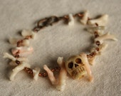 Carved Bone Skull Vintage Coral Bracelet Day of the Dead Skull Jewelry Bone Skull Bracelet Coral Bracelet Coral Copper Bone Bracelet
