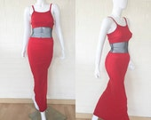 90's Vintage Red Black Mesh Cut Out Long Maxi Club Dress S