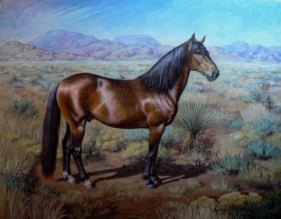 11x14 Custom Horse Portrait in landscape equine oil painting. Heirloom quality original art by Kerry Nelson