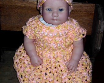 Crochet baby dress 1 -  3 months spring summer time peach yellow Hat girls