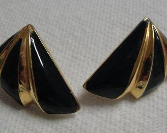 Black Enamel Gold Tone Pierced Earrings