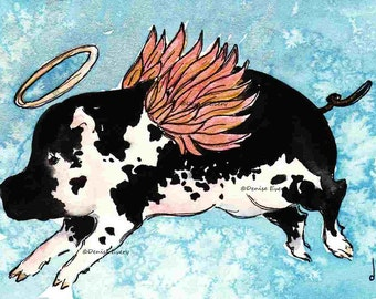 Pig Art Print Black Spotted Flying Pig Mini Pig ACEO Angel Winged Pig Miniature aceo art Fun Animal Art ACEO print by Denise Every