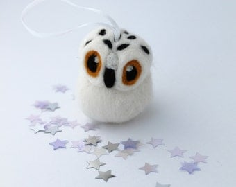 Snowy Owl Christmas Decoration Needle Felted Christmas Tree Decoration