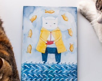 CAT Art The Sailor and His Ship Original Watercolor Cat Folk Art Painting