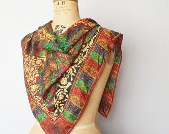Vintage silk scarf-Elaine  Gold silk scarf