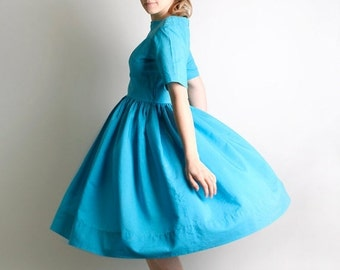 ON SALE 1950s Day Dress - Vintage Handmade Bright Sky Blue Teal Classic Dress - Medium to Large