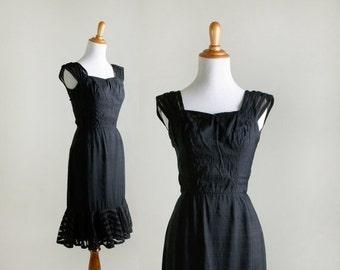ON SALE Vintage 1960s Dress - Little Black Dress by Mignon - Sheer Ruffles - Small XS