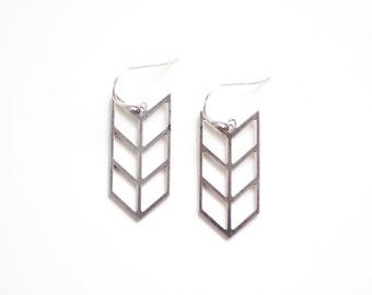 Triple Chevron Arrow Earrings - Gold or Silver