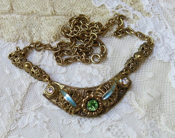 Vintage Crescent Pierced Filigree Necklace ... Rhinestone & Enamel Accents ... Brass and Metal