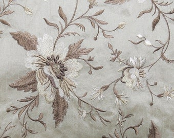 Embroidered Floral Fabric...Natural Neutral colors...Beige,Ecru,Taupe,Cream,Ivory, Flower faux silk...crazy quilt, collage,mixed media-51509
