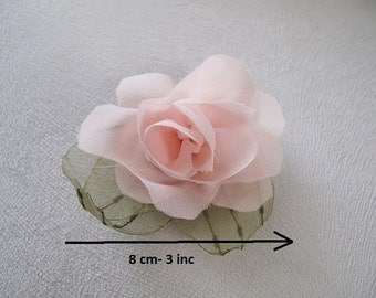 Pink chiffon  flower brooch, bridal,