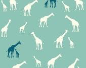 ORGANIC fabric, Serengeti by Birch Fabrics- Giraffe Fam in Pool, Giraffe fabric, Quilt fabric, Animal fabric, Nursery, Choose your cut