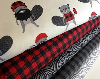 Burly Beavers Fabric Bundle of 5, Hipster fabric, Lumberjack, Animal fabric, Plaid, Robert Kaufman- Choose the cuts, Free Shipping Available