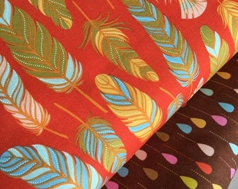 Feather fabric bundle, Fall fabric, Holiday fabric,  Wing Leaf fabric, Moda - Fabric Bundle of 2, Choose The Cuts, Free Shipping Available
