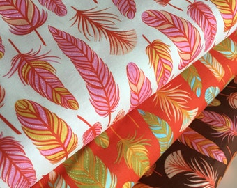 Feather fabric bundle, Fall fabric, Holiday fabric, Wing Leaf fabric, Moda - Fabric Bundle of 3, Choose The Cuts, Free Shipping Available