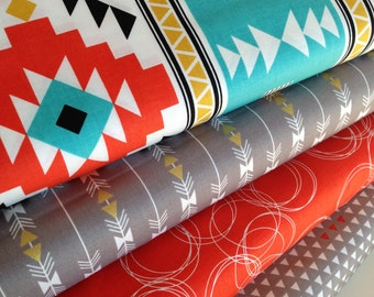 Tribal fabric, Four Corners fabric bundle by Riley Blake, Arrow fabric, Gold fabric, Southwest fabric, Bundle of 4, Choose the Cut