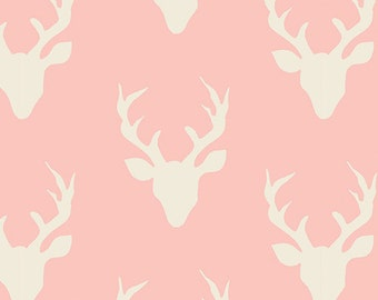 Hello Bear fabric, Deer Fabric by Bonnie Christine for Art Gallery Fabrics- Woodland Animal,  Buck Forest Pink, Pink fabric, Choose the cut