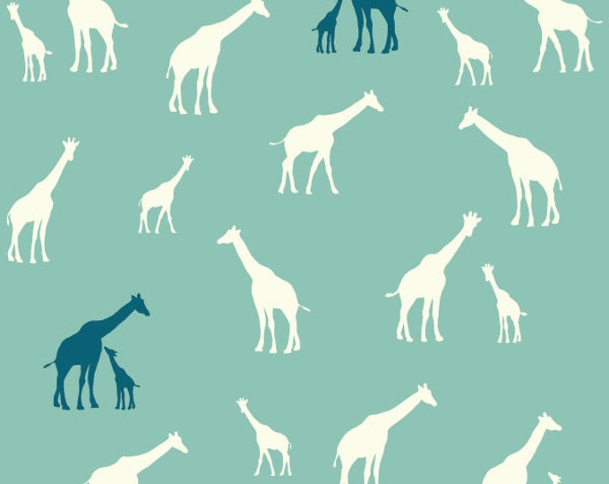 ORGANIC fabric, Serengeti by Birch Fabrics- Giraffe Fam in Pool, Giraffe fabric, Quilt fabric, Animal fabric, Nursery, Choose your cut
