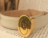 VINTAGE BELT...Christian Dior leather belt, ladies M size,brass buckle