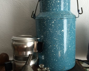 VINTAGE ENAMEL...blue two toned enamel pot camping picnic hot coffee chocolate home decor rustic cottage outdoor fun wedding flower decor