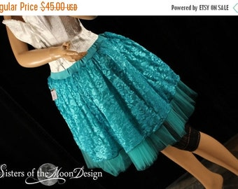 SALE Teal Lace Tutu skirt fairy costume halloween dance ballet dress up - Ready To ship - Small - Sisters of the Moon