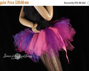 SALE Ready to ship tutu Trashy skirt poofy pink purple pixie princess dance costume party club rave race run event - XSmall - Sisters of the