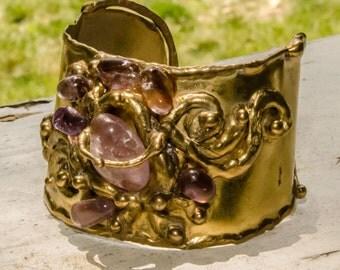 Vintage Brutalist Modernist Amethyst Brass Cuff Bracelet