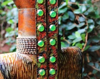 Leather Earrings, Long Earrings, Bejeweled Earrings, Copper, Lime Green, Squeeze of Lime Long Leather Bejeweled Earrings