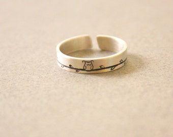 Owl Ring for Men and Women - Adjustable Sterling Silver Ring with Cute Owl - Custom made ring