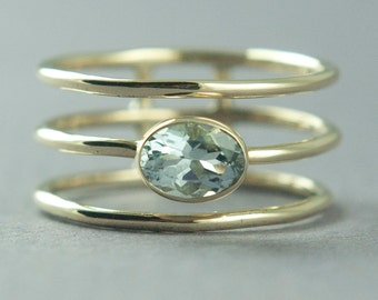 Aquamarine Ring, Solid Gold Ring, 14K Gold Ring, Yellow Gold Ring, Unique Ring, Statement Ring,Made to Order, Free Courier Shipping