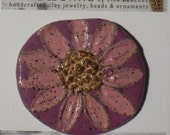 Stoneware Miami Pink Flower Pin Framed in Purple Orchid