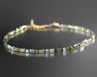 Labradorite Bead Necklace - Aquamarine Apatite Peridot - Labradorite Necklace - Adjustable