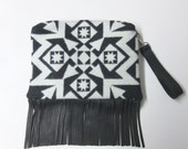 SALE Fringed Leather Wool Purse Wrist Bag Large Clutch Bag Blanket Weight Dress Up or Down Removable Deer Leather Strap
