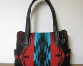 Handbag Purse Shoulder Bag Black Leather Red Turquoise Wool from Pendleton Oregon