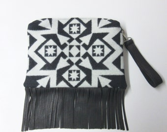 Fringed Leather Wool Purse Wrist Bag Large Clutch Bag Blanket Weight Dress Up or Down Removable Deer Leather Strap