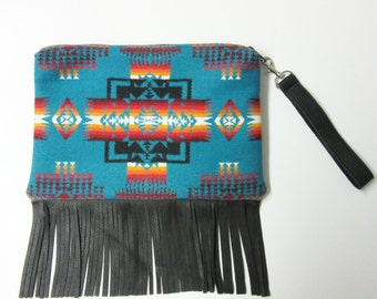 Fringed Leather Wool Purse Wrist Bag Large Clutch Bag Blanket Weight Dress Up or Down Native American Print