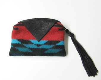 Zippered Pouch Wool Change Purse Coin Pouch Black Deer Hide Leather Trim Inexpensive Gift