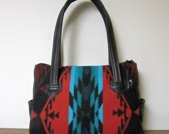 Handbag Purse Shoulder Bag Black Leather Red Turquoise Wool from Pendleton Oregon