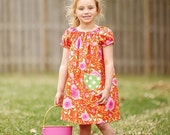 SALE Peasant dress pattern with pockets Whimsy Couture Tutorial -- 0m - 12 girls PDF Instant