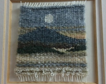 Vintage Mountain Mist Scotland Landscape Hand Made Woven Wool Tapestry in Frame Original Textile Art