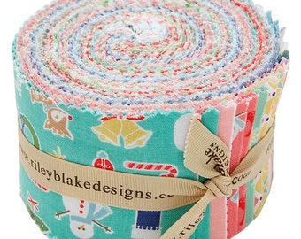 """SALE 40% Off Riley Blake COZY CHRISTMAS Rolie Polie 2.5"""" Fabric Quilting Strips Jelly Roll Lori Holt rp-5360-40"""