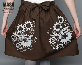 Brown skirt, Steampunk skirt, Gear skirt, Clockwork print, Art Nouveau Clockwork skirt, Brown skirt, Brown steampunk lolita skirt