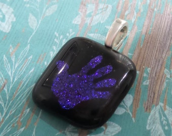 Fused Glass Pendant, Hand Symbol, Indigo Blue Dichroic, Chameleon Glass, Ready to Ship, Fused Glass Jewelry - High Five --6