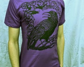 Purple Raven Tshirt Crow Bird Celtic Cotton Made in USA Tshirt S M L XL 2X