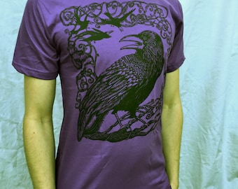 Purple Raven Tshirt Crow Bird Celtic Cotton Made in USA Tshirt S M L 2X