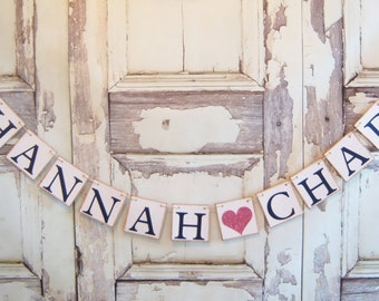 Wedding banner, Couples name banner, wedding decorations, Personalized banner, bridal shower decor, Sweetheart table decor