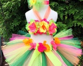 Baby Girl 1st Birthday Outfit - Luau Birthday Tutu - Hawaiian Luau Party - Cake Smash Outfit