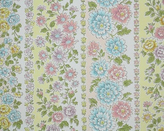 1960s Vintage Wallpaper by the Yard - Yellow Pink Blue and Purple Floral Stripe