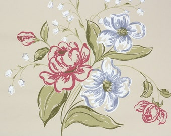 1940s Vintage Wallpaper by the Yard - Floral Vintage Wallpaper - Pink and Blue Floral Bouquet